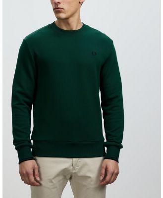 Fred Perry - Crew Neck Sweatshirt - Sweats (Ivy & Black) Crew Neck Sweatshirt