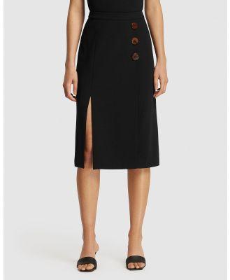 FRIEND of AUDREY - Poppy Resin Buttoned Split Skirt - Pencil skirts (Black) Poppy Resin Buttoned Split Skirt