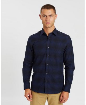 Gieves and Hawkes - Cotton Flannel Casual Shirt - Shirts & Polos (Blue) Cotton Flannel Casual Shirt