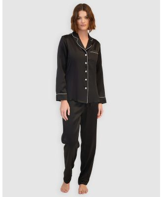 GINIA  - Silk Pyjamas With Contrast Piping - All gift sets (Black with Creme Piping) Silk Pyjamas With Contrast Piping