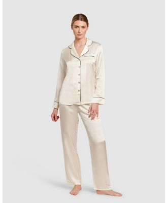 GINIA  - Silk Pyjamas With Contrast Piping - All gift sets (Creme with Black Piping) Silk Pyjamas With Contrast Piping