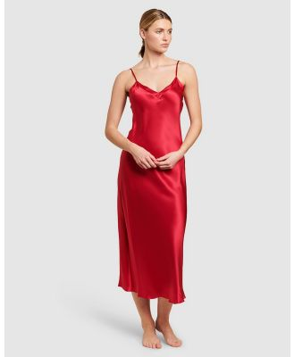 GINIA  - Silk V Neck Long Nite - Sleepwear (Ruby) Silk V-Neck Long Nite