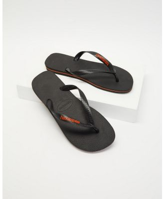 Havaianas - Top Rubber Logo   Men's - All thongs (Black & Orange Neon) Top Rubber Logo - Men's