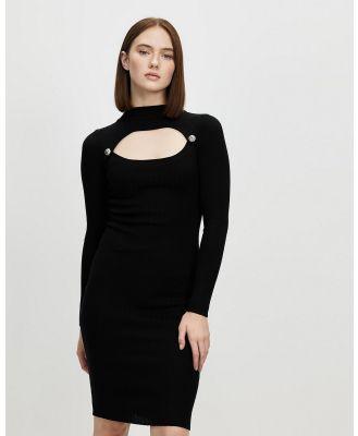 Honey and Beau - Beginnings Button Knit Dress - Bodycon Dresses (Black) Beginnings Button Knit Dress