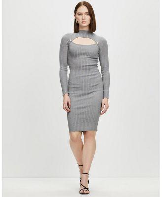 Honey and Beau - Beginnings Button Knit Dress - Bodycon Dresses (Grey) Beginnings Button Knit Dress
