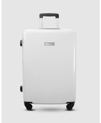 JETT BLACK - Carbon White Series Large Suitcase - Travel and Luggage (White) Carbon White Series Large Suitcase