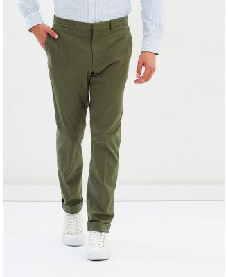 Kent and Curwen - Flat Front Chinos - Pants (Olive) Flat Front Chinos