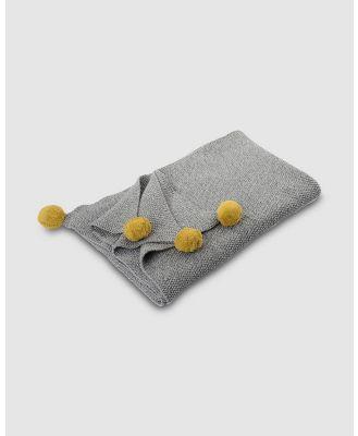 Kikadu - Panda Pompom Blanket with Pompoms - Nursery (Grey & Mustard) Panda Pompom Blanket with Pompoms