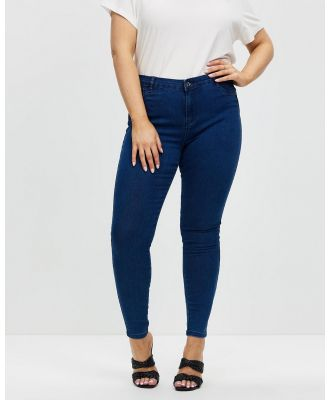 Missguided Curve - Anarchy Mid Rise Skinny Jeans - Jeans (Blue) Anarchy Mid-Rise Skinny Jeans