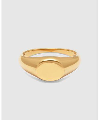 Nialaya Jewellery - Men's Mini Signet Ring - Jewellery (Gold) Men's Mini Signet Ring