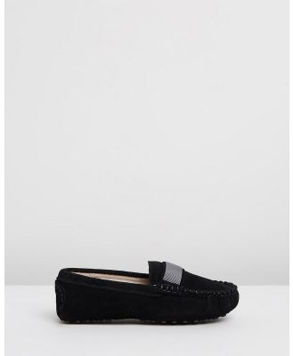 Oscars For Kids - Milan Loafers   Kids Teens - Dress Shoes (Black Suede) Milan Loafers - Kids-Teens