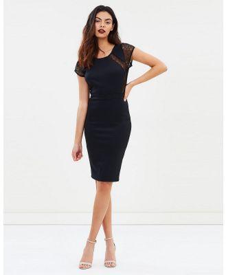 SKIVA - Lace Cap Sleeves Dress - Bodycon Dresses (Black) Lace Cap Sleeves Dress