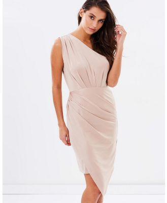 SKIVA - One Shoulder Asymmetrical Dress - Dresses (Gold) One Shoulder Asymmetrical Dress