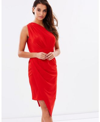 SKIVA - One Shoulder Asymmetrical Dress - Dresses (Red) One Shoulder Asymmetrical Dress