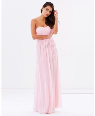 SKIVA - Strapless Chiffon Evening Dress - Bridesmaid Dresses (Pink) Strapless Chiffon Evening Dress