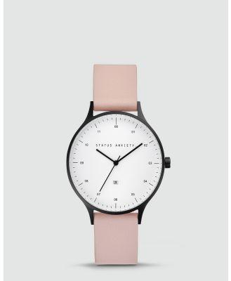 Status Anxiety - Inertia - Watches (matte black / white face / blush strap) Inertia