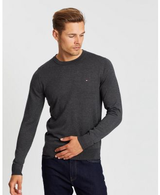 Tommy Hilfiger - Core Cotton Silk Crew Neck Knit - Jumpers & Cardigans (Charcoal Heather) Core Cotton-Silk Crew Neck Knit