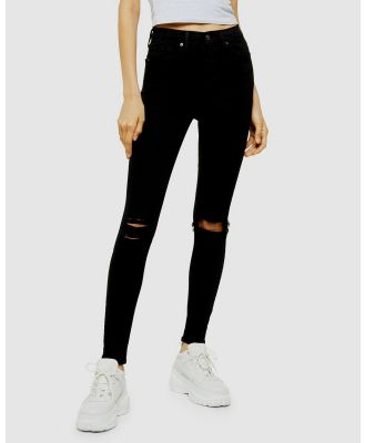 TOPSHOP - Jamie Jeans Ripped - High-Waisted (Black) Jamie Jeans Ripped
