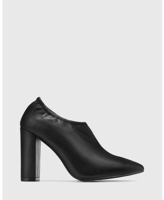 Wittner - Hester Leather Elastic Topline Booties - Heels (Black) Hester Leather Elastic Topline Booties